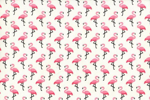 Stamped cretonne Flamingo Creme-Rose