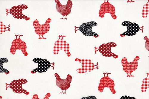 Stamped cretonne Mini Poulettes Rouge
