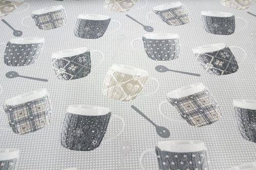Resinated tablecloth Mugs Gris