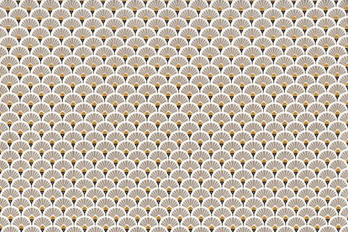 Stamped cretonne Eventails Dores-Beige