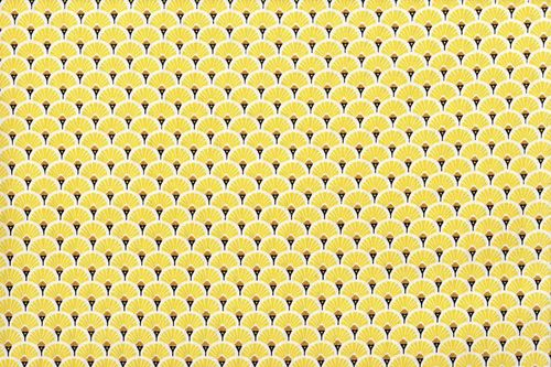 Stamped cretonne  Eventails Dores-Jaune