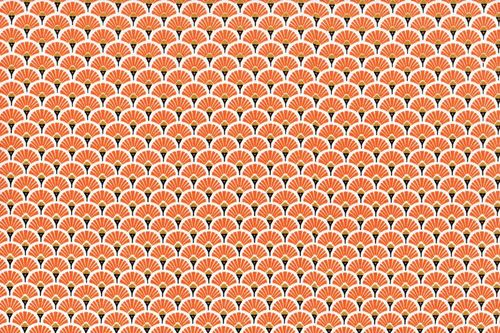 Stamped cretonne Eventails Dores-Orange