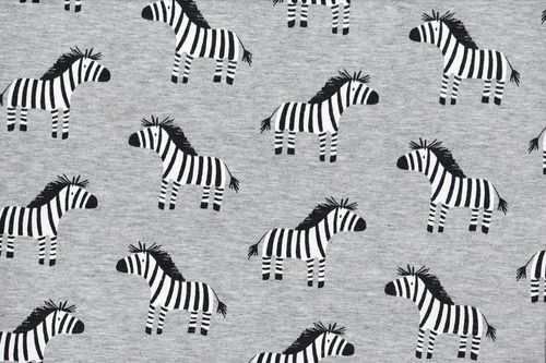French Terry print  zeby noir blanc
